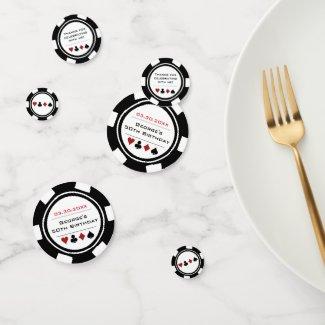 Black White Poker Chip Las Vegas Birthday Confetti