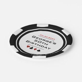 Black White Poker Chip Las Vegas Casino Birthday Paper Plate