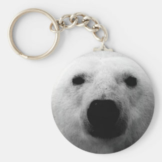 Black & White Polar Bear Basic Round Button Keychain