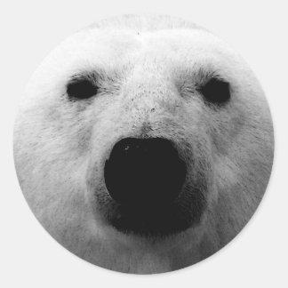 Black & White Polar Bear Classic Round Sticker