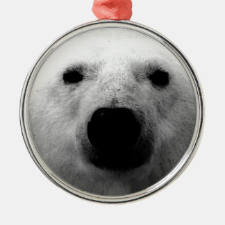 Black & White Polar Bear Metal Ornament