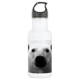 Black & White Polar Bear Stainless Steel Water Bottle