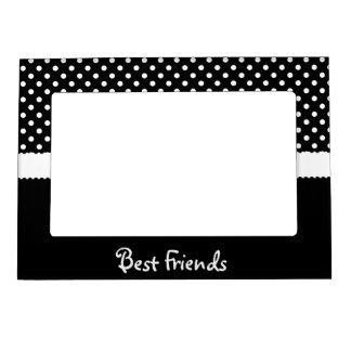 Black & White Polka Dot Best Friends Magnetic Picture Frame