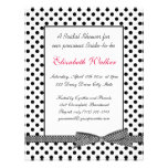 Black white polka dot bow Bridal Shower Invitation