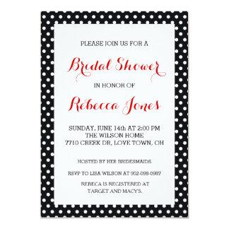 Black White Polka Dot Bridal Shower Invitations