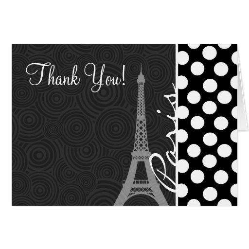 Black & White Polka Dot, Dots; Paris Card