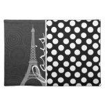 Black & White Polka Dot, Dots; Paris Cloth Placemat