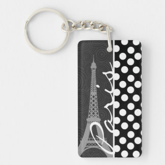 Black & White Polka Dot, Dots; Paris Keychain