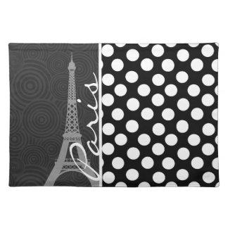 Black & White Polka Dot, Dots; Paris Placemat
