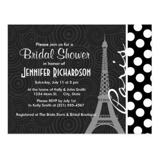 Black White Polka Dot Dots Paris Post Cards
