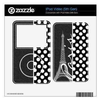 Black & White Polka Dot, Dots; Paris Skins For iPod Video