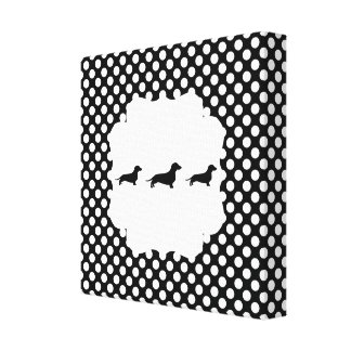 Black/White Polka Dot Doxie Canvas Print