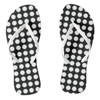 Black White Polka Dot Flip Flops