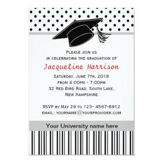 Black white polka dot Graduation Party 5x7 Paper Invitation Card