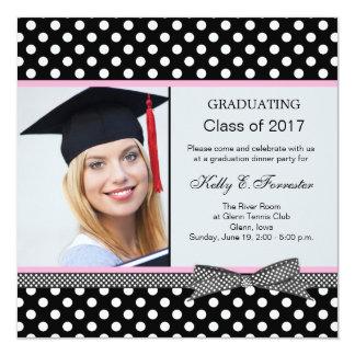 Black white polka dot Graduation Party Personalized Invite