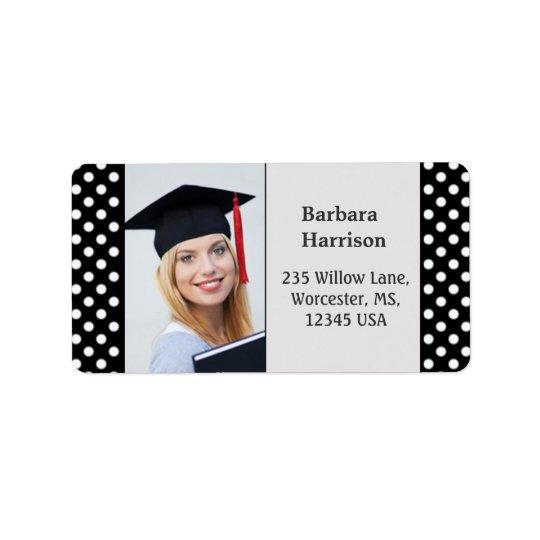 Black white polka dot Graduation photo Label