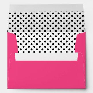 Black White Polka Dot Hot Pink A7 Envelope
