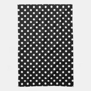 Black & White Polka Dot Kitchen Towels at Zazzle