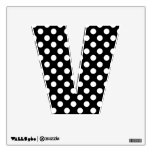 Black & White Polka Dot Letter V Wall Decal