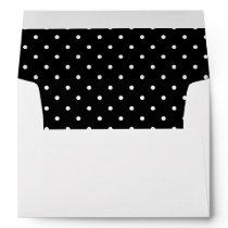 Black White Polka Dot Lined Envelope