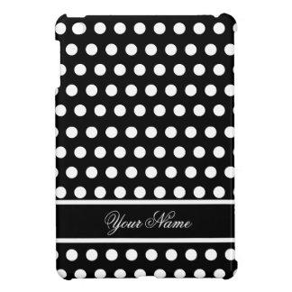 Black White Polka Dot Monogram Pattern iPad Mini Case