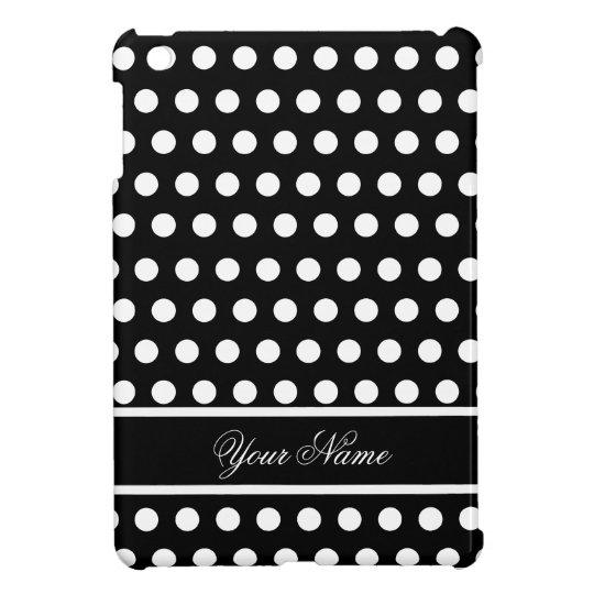 Black White Polka Dot Monogram Pattern iPad Mini Covers