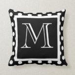 Black & White Polka Dot Monogrammed Pillow