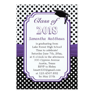 Black white polka dot, mortar cap Graduation Party Card