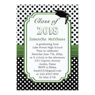 Black white polka dot, mortar cap Graduation Party Card