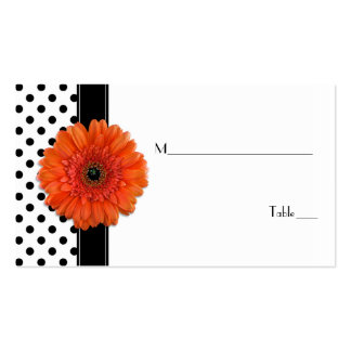 Black White Polka Dot Orange Gerber Place Card Double-Sided Standard Business Cards (Pack Of 100)