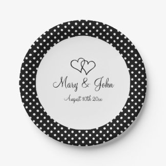 Black & white polka dot paper wedding party plates