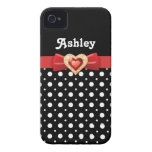 Black white polka dot pattern & red bow and jewel Case-Mate iPhone 4 cases