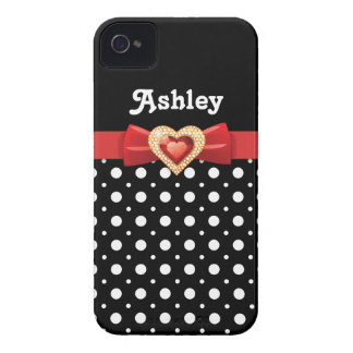 Black white polka dot pattern & red bow and jewel iPhone 4 cover
