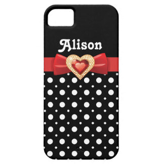 Black white polka dot pattern & red bow and jewel iPhone SE/5/5s case