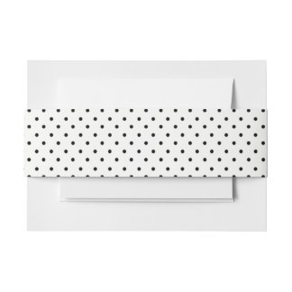 Black white polka dot pattern wedding invitation belly band
