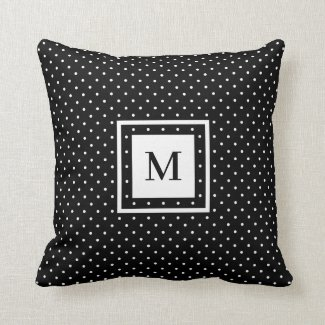 Black White Polka Dot Pattern with Modern Monogram Throw Pillow