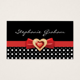 Black white polka dot pattern with red bow & jewel business card