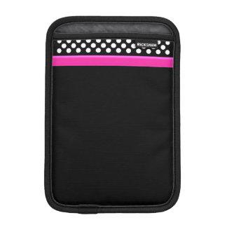 Black / White Polka Dot Pink Band iPad Mini Cover