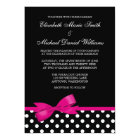 Black White Polka Dot Pink Bow Wedding Card