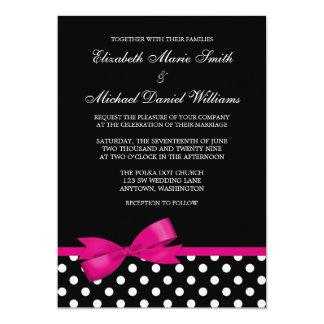 Black White Polka Dot Pink Bow Wedding 5x7 Paper Invitation Card