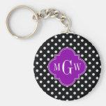 Black White Polka Dot Purple Quatrefoil 3 Monogram Keychain
