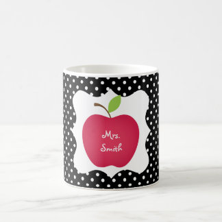 Black & White Polka Dot Red Apple Teacher's Coffee Mug
