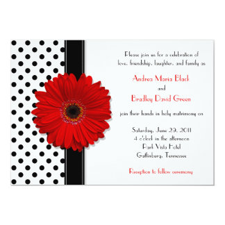 Black White Polka Dot Red Daisy Wedding Invitation