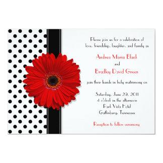 Black White Polka Dot Red Daisy Wedding Invitation