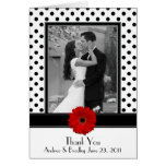 Black White Polka Dot Red Daisy Wedding Thank You Card