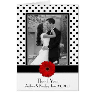 Black White Polka Dot Red Daisy Wedding Thank You Card