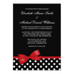 Black White Polka Dot Red Faux Bow Wedding Card