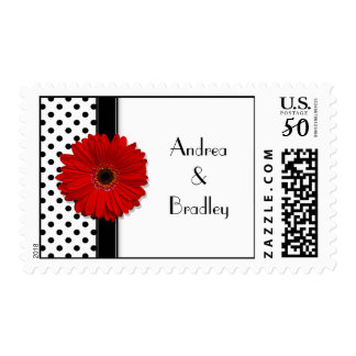 Black White Polka Dot Red Gerber Wedding Postage