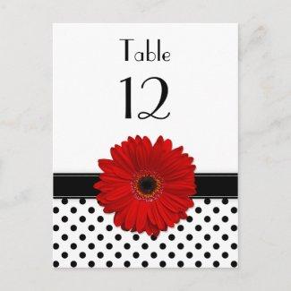 Black & White Polka Dot Red Gerbera Table Card postcard