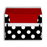 Black White Polka Dot Red Lined Party Envelope